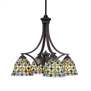 Zilo Dark Granite Four-Light Chandelier with Crescent Tiffany Glass