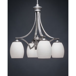 Zilo Graphite four-Light Chandelier with White Linen Glass