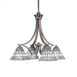 Zilo Graphite Four-Light Chandelier with Pewter Tiffany Glass