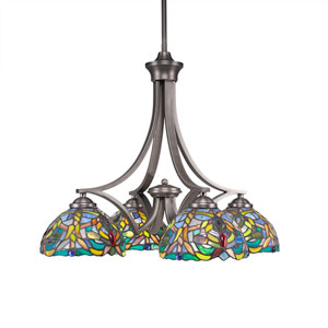 Zilo Graphite Four-Light Chandelier with Kaleidoscope Tiffany Glass