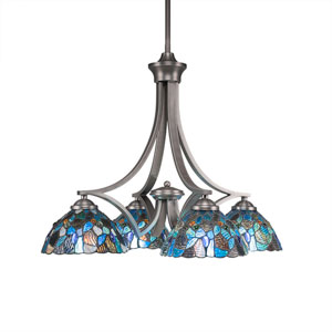 Zilo Graphite Four-Light Chandelier with Blue Mosaic Tiffany Glass