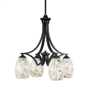 Zilo Matte Black Four-Light Chandelier with Natural Fusion Glass