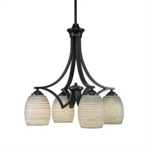 Zilo Matte Black Four-Light Chandelier with Gray Linen Glass
