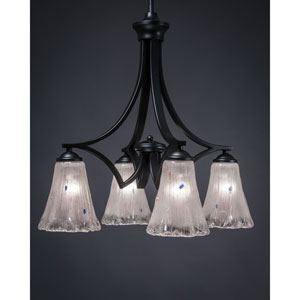 Zilo Matte Black Four-Light Twenty-Inch Chandelier with Frosted Crystal Glass