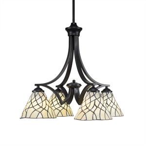 Zilo Matte Black Four-Light Chandelier with Sandhill Tiffany Glass