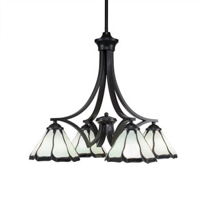 Zilo Matte Black Four-Light Chandelier with Pearl and Black Flair Tiffany Glass