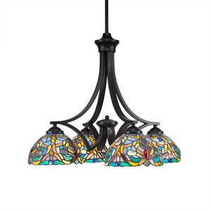 Zilo Matte Black Four-Light Chandelier with Kaleidoscope Tiffany Glass