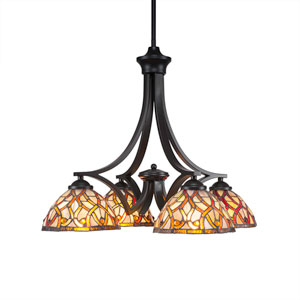 Zilo Matte Black Four-Light Chandelier with Persian Nites Tiffany Glass