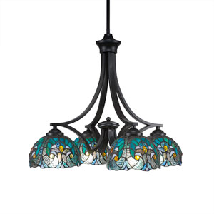Zilo Matte Black Four-Light Chandelier with Turquoise Crescent Tiffany Glass