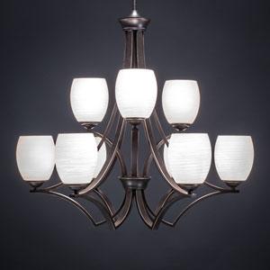 Zilo Dark Granite Nine-Light Chandelier with White Linen Glass