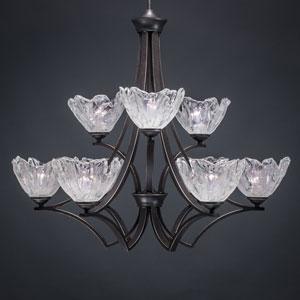 Zilo Dark Granite Nine-Light Chandelier with Italian Ice Glass