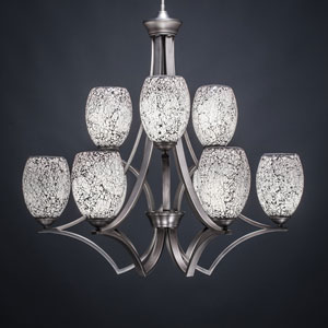 Zilo Graphite Nine-Light Chandelier with Black Fusion Glass