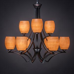 Zilo Matte Black Nine-Light Chandelier with Cayenne Linen Glass