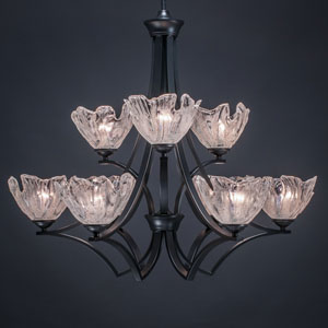 Zilo Matte Black Nine-Light Chandelier with Italian Glass
