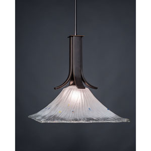 Apollo Dark Granite 18-Inch One Light Pendant with Square Frosted Crystal Glass