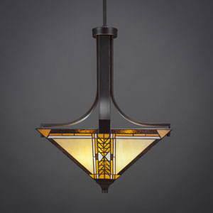 Apollo Dark Granite Three-Light Pendant with Santa Cruz Tiffany Glass