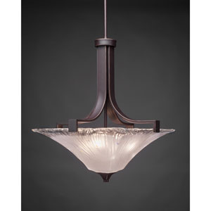 Apollo Dark Granite 18-Inch Three Light Pendant with Square Frosted Crystal Glass