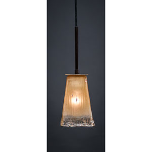 Apollo Dark Granite One-Light Pendant with Amber Crystal Glass