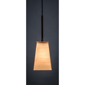 Apollo Dark Granite One-Light Pendant with Cayenne Linen Glass