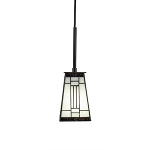 Apollo Dark Granite One-Light 5-Inch Mini Pendant with 5-Inch Square Santa Fe Glass