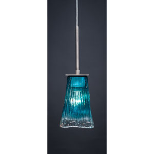Apollo Graphite One-Light Pendant with Teal Crystal Glass