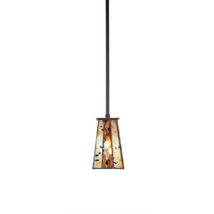 Apollo Dark Granite One-Light 5-Inch Mini Pendant with 5-Inch Square Fiesta Tiffany Glass