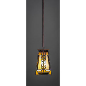 Apollo Dark Granite Pendant with Santa Cruz Tiffany Glass