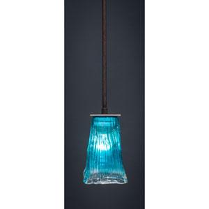 Apollo Dark Granite Stem Mini Pendant with 5-Inch Square Teal Crystal Glass