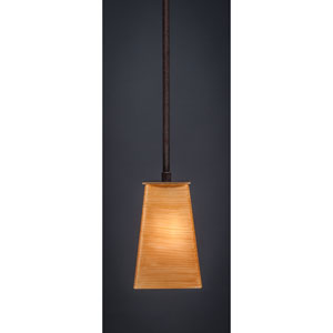 Apollo Dark Granite Stem Mini Pendant with 5-Inch Square Cayenne Linen Glass