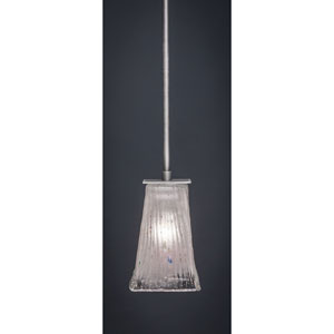 Apollo Graphite Stem Mini Pendant with 5-Inch Square Frosted Crystal Glass