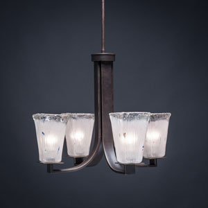 Apollo Dark Granite 5-Inch Four Light Chandelier with Square Frosted Crystal Glass