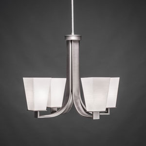 Apollo Graphite Four Light Chandelier with 5-Inch Square White Linen Glass