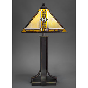 Apollo Dark Granite Two-Light Table Lamp with Santa Cruz Tiffany Glass