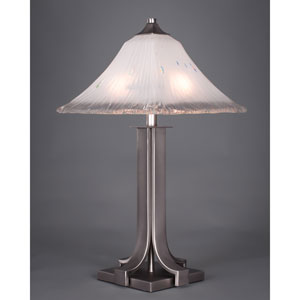 Apollo Graphite Table Lamp with Square Frosted Crystal Glass