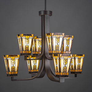 Apollo Dark Granite Eight-Light Chandelier with Santa Cruz Tiffany Glass
