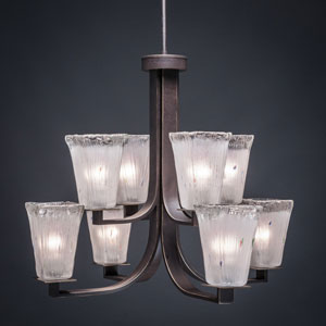 Apollo Dark Granite 5-Inch Eight Light Chandelier with Square Frosted Crystal Glass