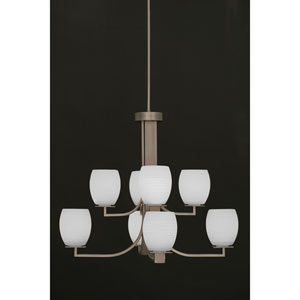 Apollo Graphite Eight Light Chandelier with 5.5-Inch White Linen Glass