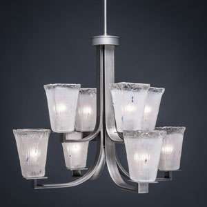 Apollo Graphite Eight Light Chandelier with 5-Inch Square Frosted Crystal Glass
