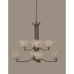 Apollo Graphite Eight Light Chandelier with 7-Inch Frosted Crystal Glass