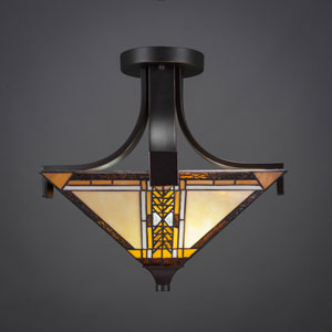 Zilo Dark Granite Two-Light Semi-Flushmount with Santa Cruz Tiffany Glass
