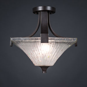 Apollo Dark Granite 14-Inch Two Light Semi Flush with Square Frosted Crystal Glass