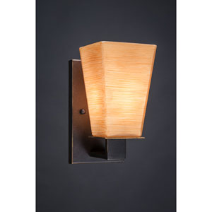 Apollo Dark Granite 5-Inch One Light Wall Sconce with Square Cayenne Linen Glass