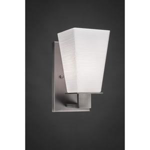 Apollo Graphite Wall Sconce with 5-Inch Square White Linen Glass