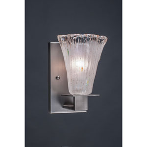 Apollo Graphite Wall Sconce with 5.5-Inch Fluted Frosted Crystal Glass