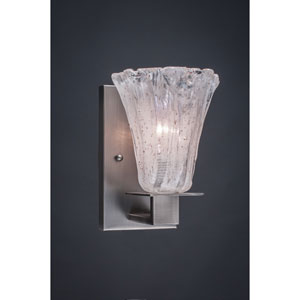 Apollo Graphite Wall Sconce with 5.5-Inch Fluted Italian Ice Glass