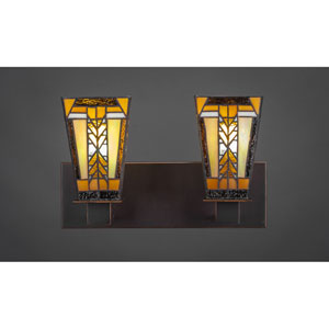 Apollo Dark Granite Two-Light Vanity Fixture with Santa Cruz Tiffany Glass