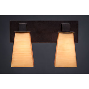 Apollo Dark Granite 5-Inch Two Light Bathroom Wall Lighting with Square Cayenne Linen Glass