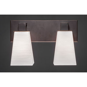 Apollo Dark Granite 5-Inch Two Light Bathroom Wall Lighting with Square White Linen Glass