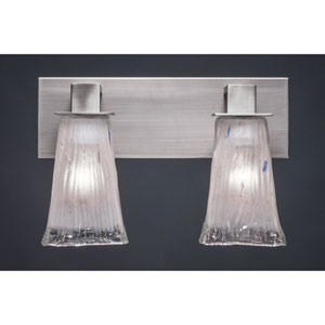 Apollo Graphite Two Light Bath Fixture with 5-Inch Square Frosted Crystal Glass