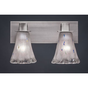 Apollo Graphite Two Light Bath Fixture with 5.5-Inch Fluted Frosted Crystal Glass